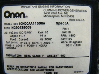10000 ONAN QUITE DIESEL GENERATOR USED - CALL FOR AVAILABILITY