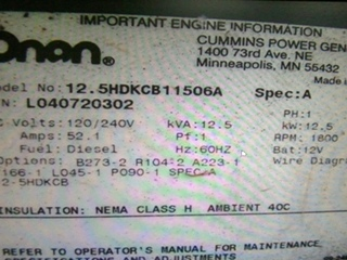 USED 12500 ONAN QUIET DIESEL GENERATOR CALL FOR AVAILABILITY