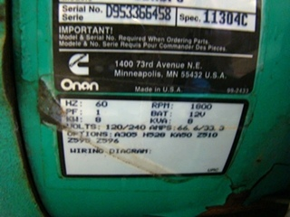 USED ONAN 8.0 KW RV GENSET DIESEL GENERATOR FOR SALE