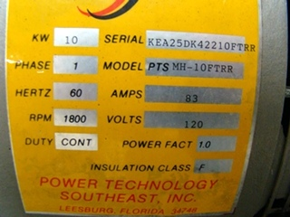 USED POWER TECH 10 KW DIESEL GENERATOR FOR SALE MODEL PTS MH 10FTRR