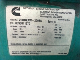 ONAN CUMMINS 20KW COMMERCIAL SD DIESEL GENERATOR FOR SALE