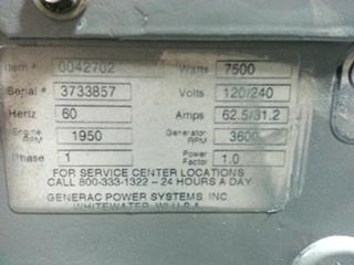 RV / MOTORHOME GENERAC 75D RV DIESEL GENERATOR FOR SALE