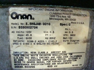 ONAN GAS GENERATOR 5500 MARQUIS GOLD FOR SALE
