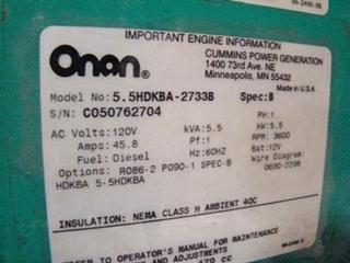 USED ONAN QUIET DIESEL 5500 GENERATOR FOR SALE 5.5 KW