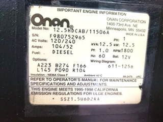 ONAN QUIET DIESEL 12500 USED MOTORHOME 12.5HDCAB/11506A GENERATOR RV PARTS FOR SALE